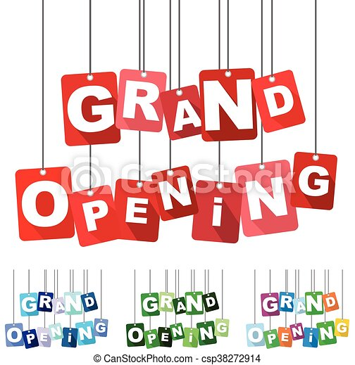 grand opening, red vector grand opening, flat vector grand opening, background grand opening - csp38272914