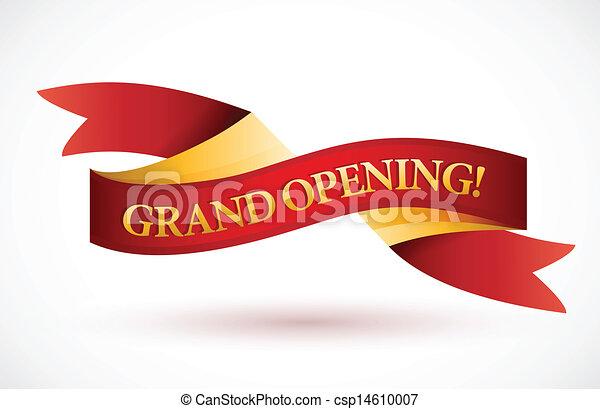 grand opening red waving ribbon banner - csp14610007