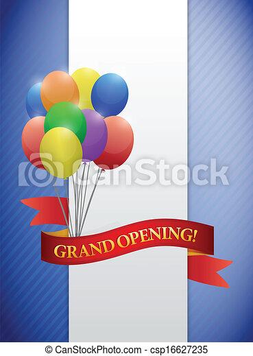 grand opening ribbon card illustration design - csp16627235