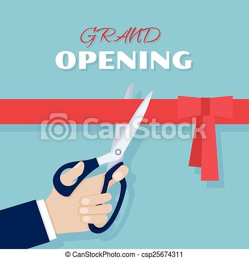 Grand opening. Scissors cut red ribbon - csp25674311