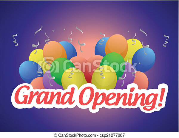 grand opening sign and balloons illustration - csp21277087