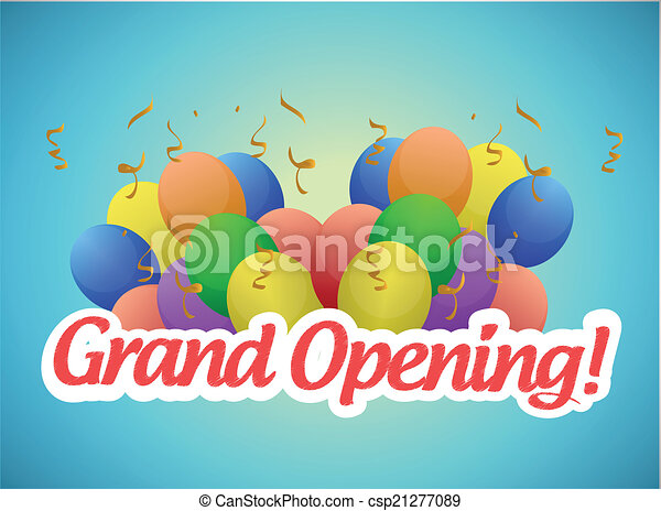 grand opening sign and balloons illustration - csp21277089