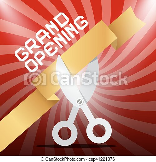 Grand Opening. Silver Scissors Cutting Gold Ribbon on Red Background. - csp41221376