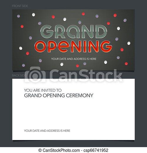 Grand Opening Vector Banner Invitation Card Template Festive Invite