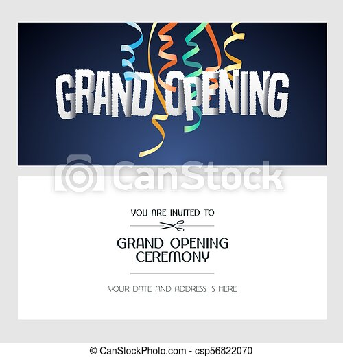 Grand Opening Vector Banner Invitation Card Grand Opening Vector