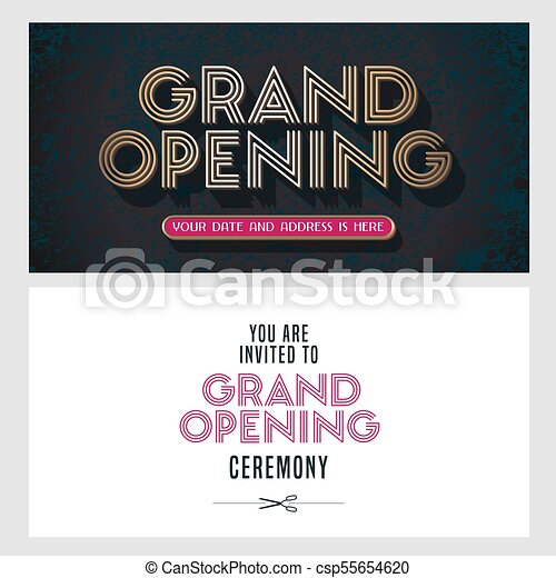 Grand Opening Vector Illustration Invitation Card