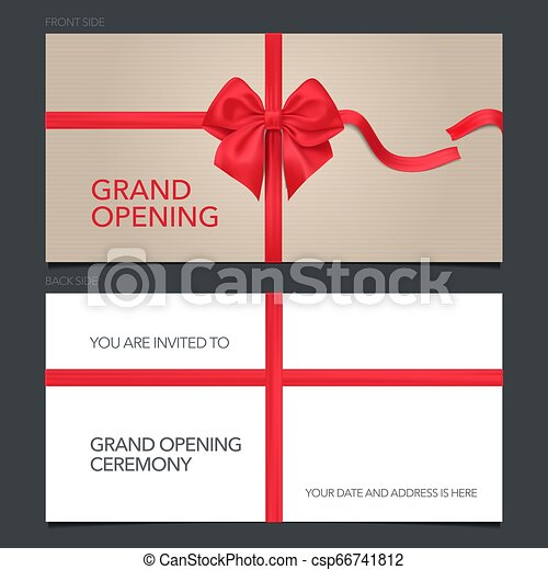 Grand Opening Vector Illustration Invitation Card Template Invite With Red Bow