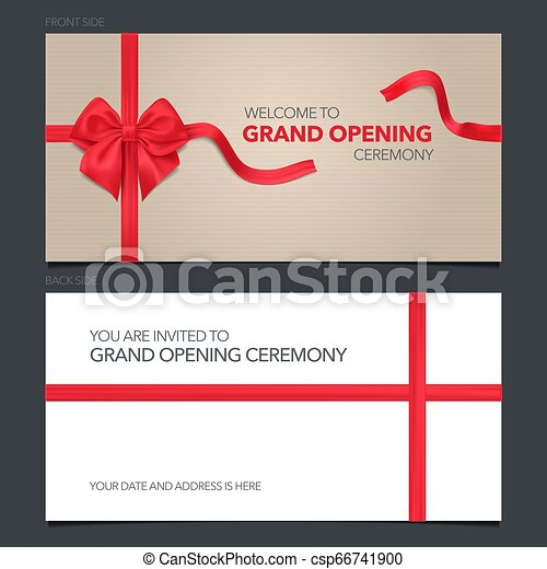 Grand Opening Vector Illustration Invitation Card Template Banner