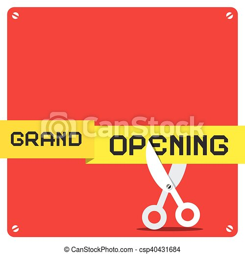 Grand Opening. Vector Red Square with Rounded Corners and Scissors Cutting Yellow Tape. - csp40431684