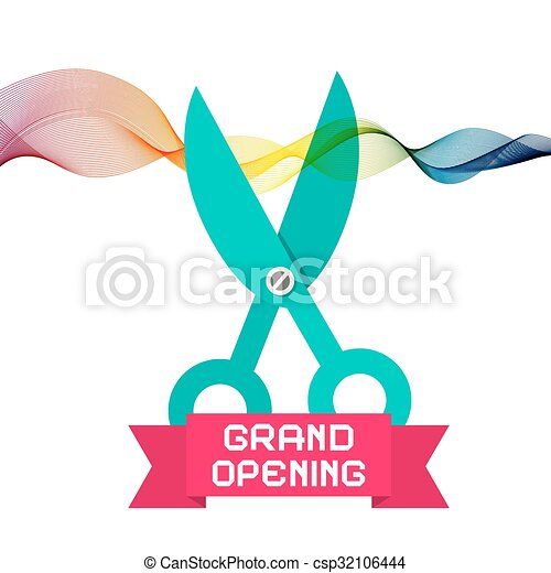 Grand Opening Vector with Scissors and Colorful Wave Ribbon on White Background - csp32106444