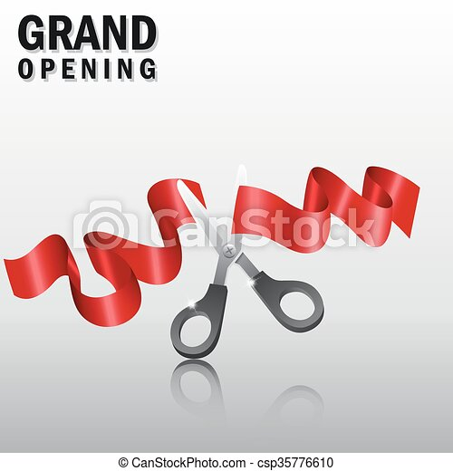 Grand opening with red ribbon - csp35776610