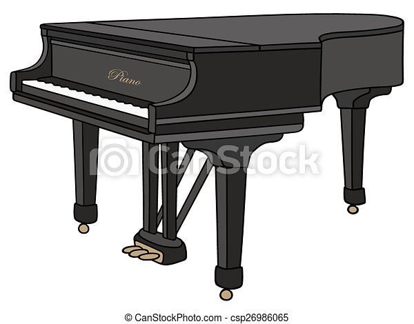 Grand Piano Hand Drawing Of A Black Closed