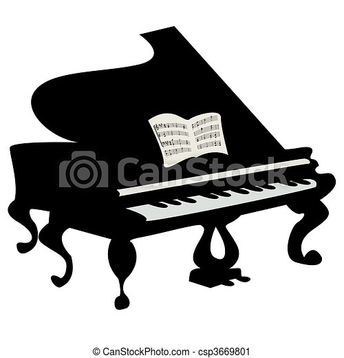 grand piano illustration isolated object over white clipart rh canstockphoto com grand piano clip art free grand piano clipart free