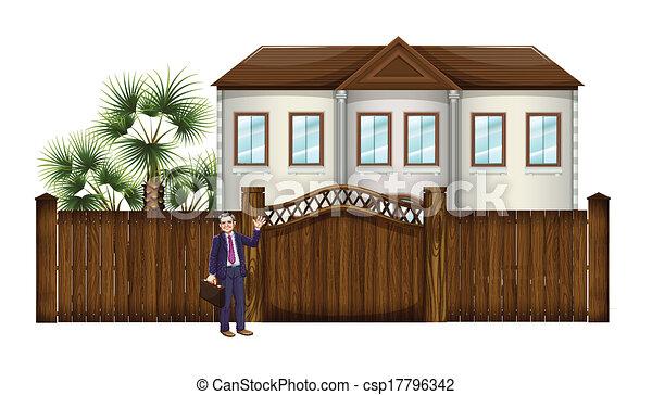 grand, projection, homme, maison - csp17796342