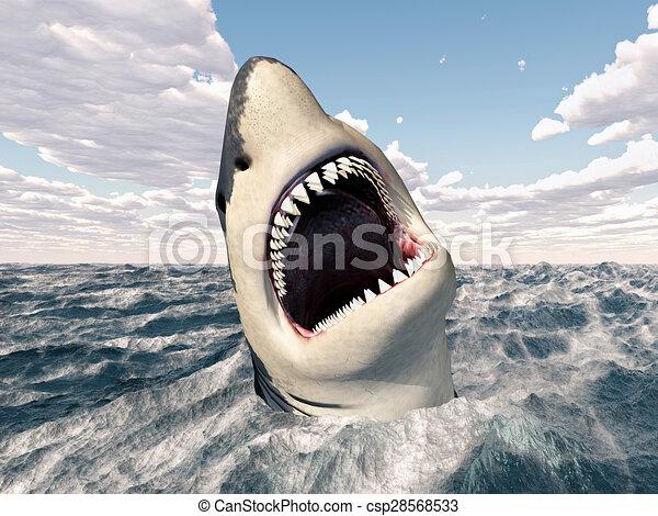 Grand requin blanc grand orageux requin illustration oc an engendr informatique blanc 3d - Dessin de grand requin blanc ...