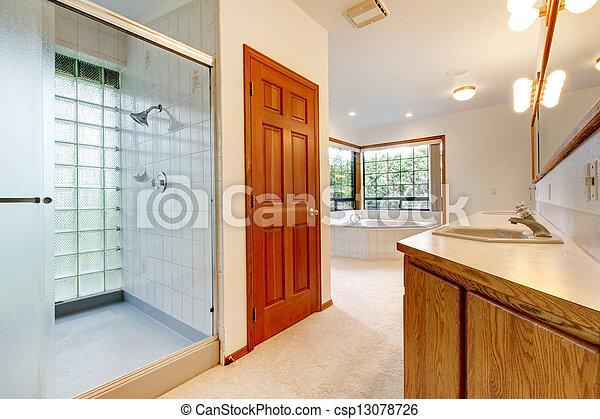 grand, salle bains, baquet, douche, bois, blanc, cabinet.