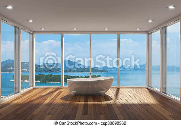 grand, salle bains, moderne, fenêtre, baie