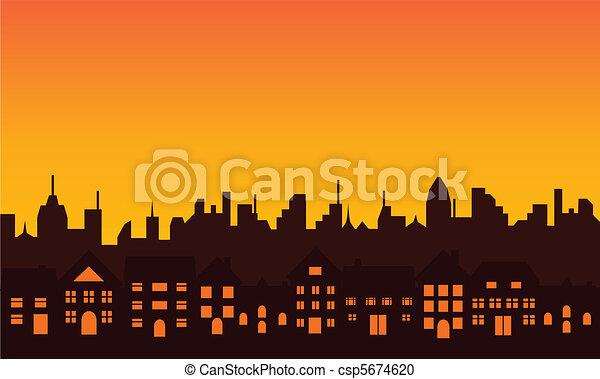grand, silhouette horizon, ville - csp5674620