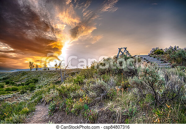 grand teton national park in wyoming early morning - csp84807316