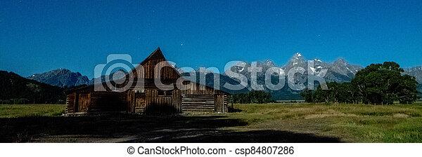 grand teton national park in wyoming early morning - csp84807286