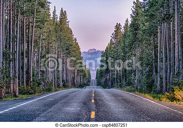 grand teton national park in wyoming early morning - csp84807251
