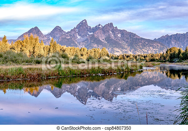 grand teton national park in wyoming early morning - csp84807350