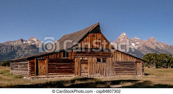 grand teton national park in wyoming early morning - csp84807302
