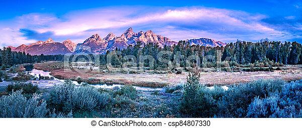 grand teton national park in wyoming early morning - csp84807330