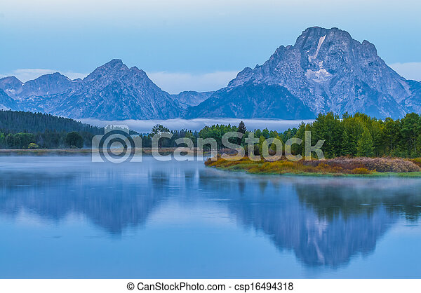 Grand Teton Reflection at Sunrise - csp16494318
