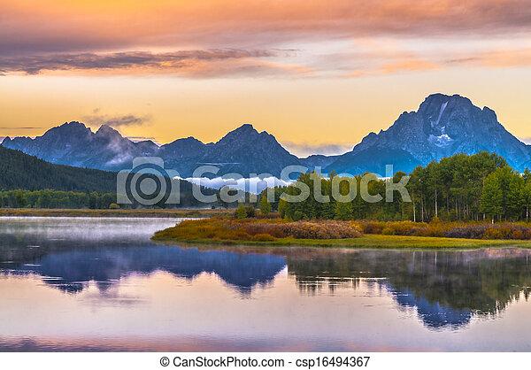Grand Teton Reflection at Sunrise - csp16494367