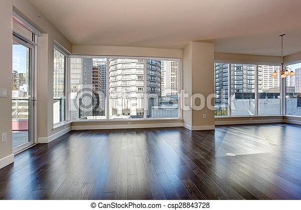 grand, vivant, fireplace., salle, vide - csp28843728