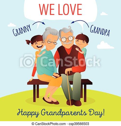El concepto del vector del día de los abuelos. Ilustración con familia feliz. Abuelo, abuela y nietos. - csp39566503
