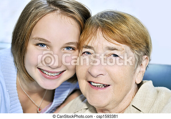 Granddaughter visiting grandmother - csp1593381