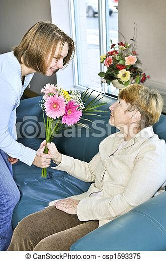 Granddaughter visiting grandmother - csp1593375