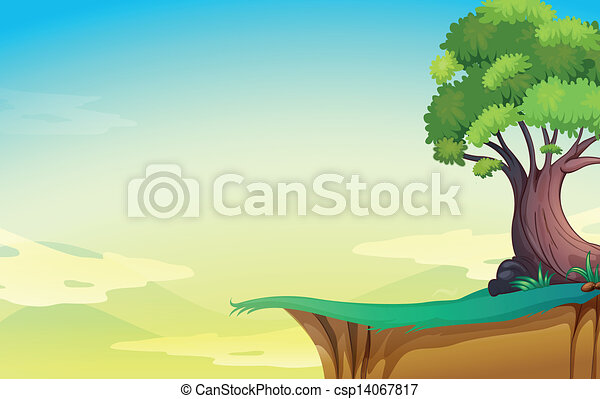 Un viejo árbol cerca del precipicio - csp14067817