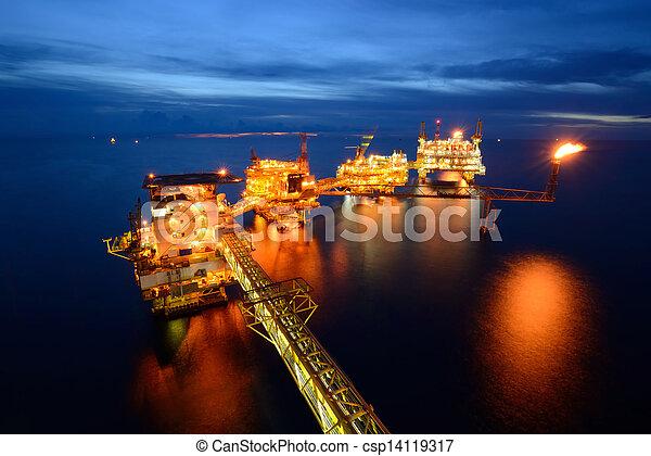 grande, aparejo, aceite, costa afuera, noche - csp14119317