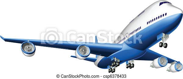 grande, avião passageiro, ilustração - csp6378433