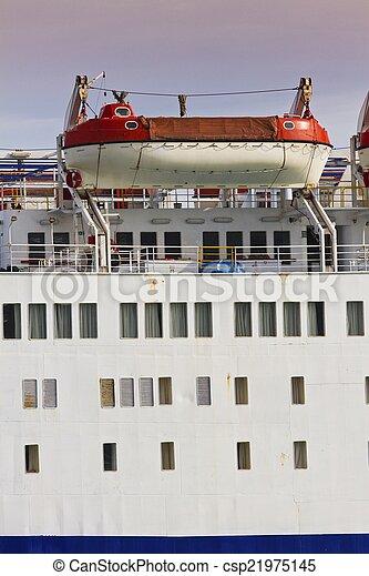 grande, botes salvavidas, barco