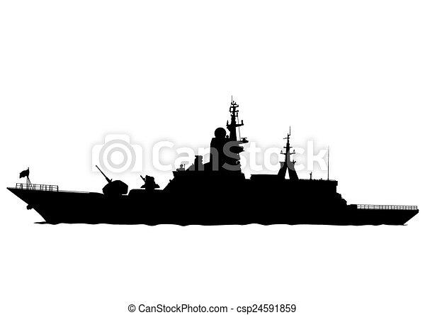 Grande, buque de guerra. Grande, blanco, silueta, plano de fondo ...