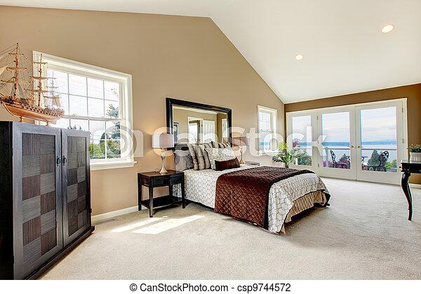 grande, carpet., clássicas, água, luxo, quarto, vista - csp9744572