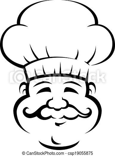 grande, chef, sonriente, bigote, rizado - csp19055875