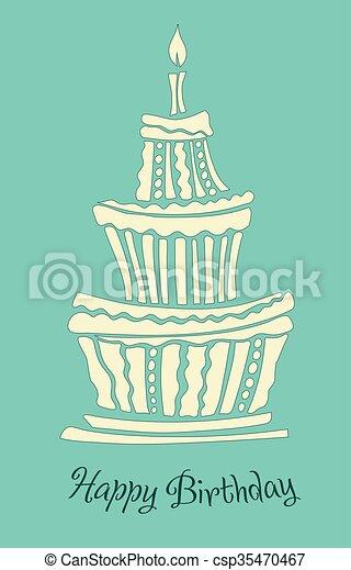 Torta Compleanno Stilizzata.Grande Compleanno Stilizzato Torta Stile Torta Compleanno Grafico Grande Stilizzato