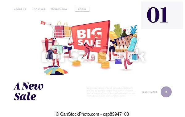 grande, compras, aterrizaje, venta, template., caracteres, gente, página, shopaholic, tranvía, tienda de comestibles, discount., compras - csp83947103