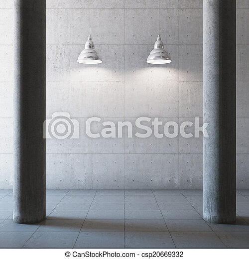 Una sala de hormigón vacía - csp20669332
