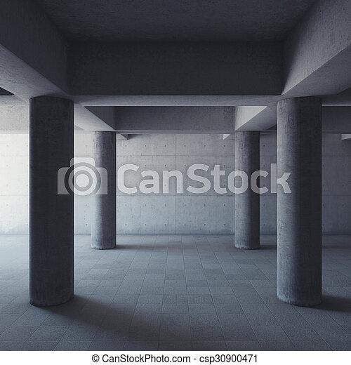 Una sala de hormigón vacía - csp30900471