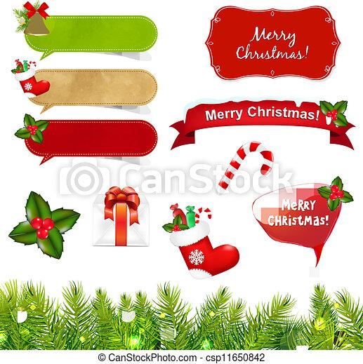 Grandes iconos de Navidad establecidos con la frontera - csp11650842