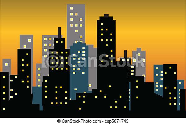 Una gran puesta de sol en la ciudad - csp5071743