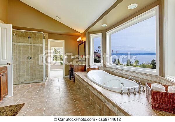 Grande, cuarto de baño, agua del baño, lujo, tonel, interior., vista ...