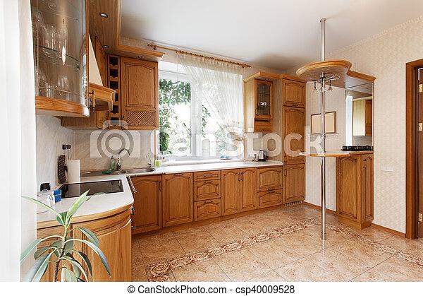 Grande de madera alacenas cocina barra de madera mansi n desayuno alacenas cocina - Alacenas de madera para cocina ...