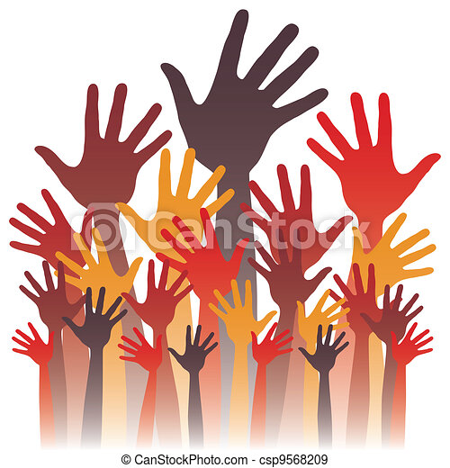 grande, design., feliz, grupo, mãos - csp9568209